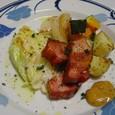 野菜の蒸し焼きと角ベーコン(20070423)