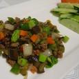 夏野菜とミンチのオイスター炒め(20070814)