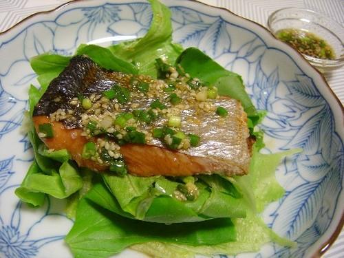 鮭のかぼすドレッシングがけ(20071128)